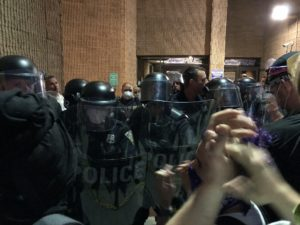 Riot Police at New Haven Police Headquarters, May 31.